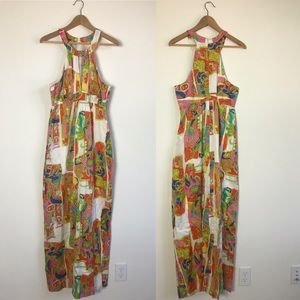 Trina Turk KeyHole Collar Cotton Silk Maxi Dress